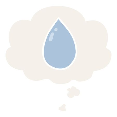 cartoon water droplet with thought bubble in retro style
