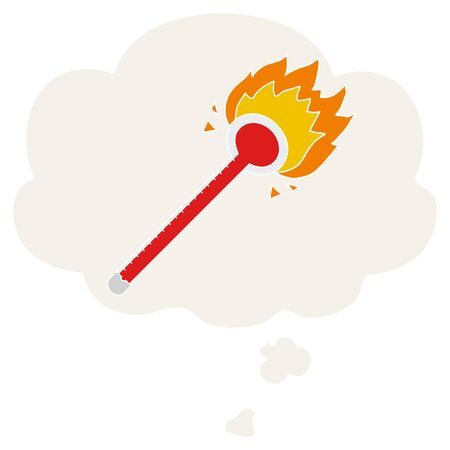 cartoon thermometer with thought bubble in retro style 向量圖像