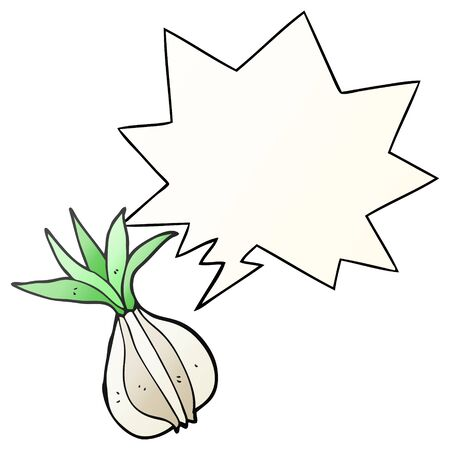 cartoon onion with speech bubble in smooth gradient style