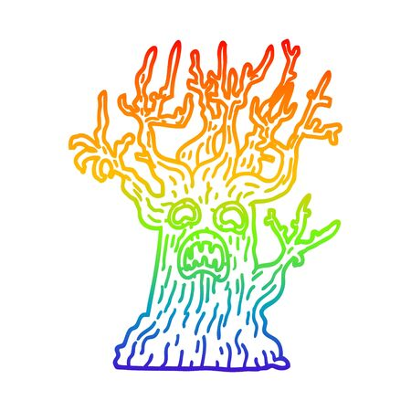 rainbow gradient line drawing of a cartoon spooky tree