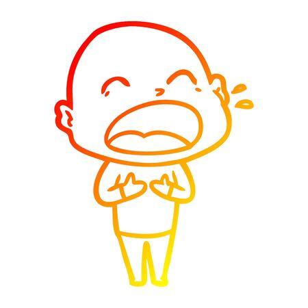 warm gradient line drawing of a cartoon shouting bald man 向量圖像