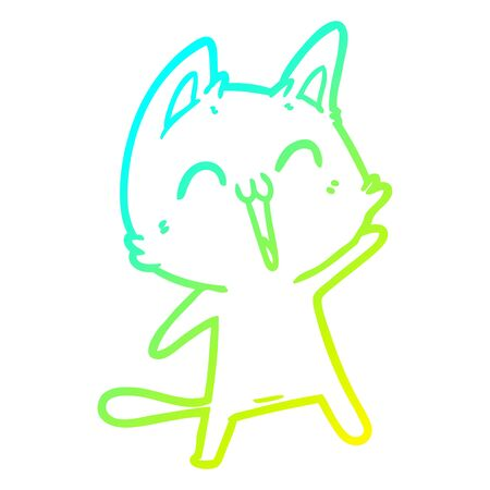 cold gradient line drawing of a happy cartoon cat