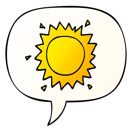 cartoon sun with speech bubble in smooth gradient style Ilustração