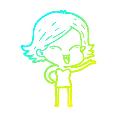 cold gradient line drawing of a happy cartoon girl
