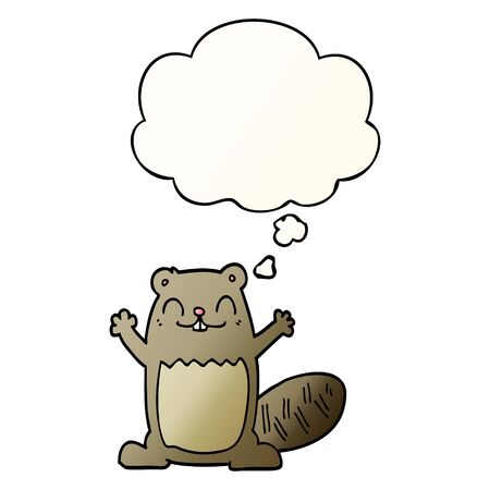 cartoon beaver with thought bubble in smooth gradient style Banco de Imagens - 130509292