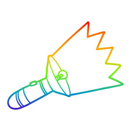 rainbow gradient line drawing of a old cartoon torch Stock Illustratie