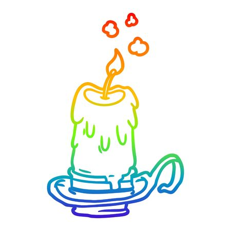 rainbow gradient line drawing of a old spooky candle in candleholder