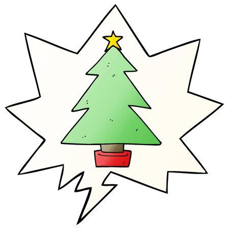 cartoon christmas tree with speech bubble in smooth gradient style Ilustração