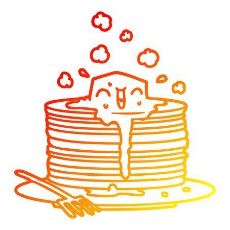 warm gradient line drawing of a stack of tasty pancakes 向量圖像