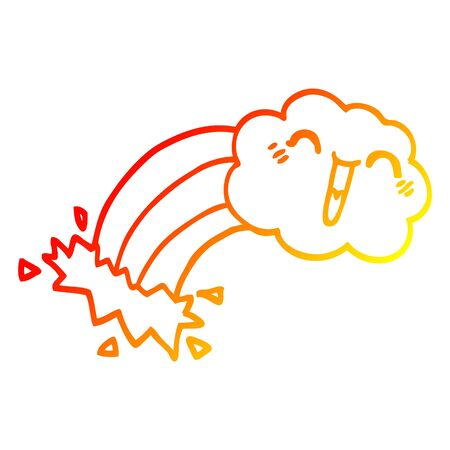 warm gradient line drawing of a cartoon rainbow rain cloud
