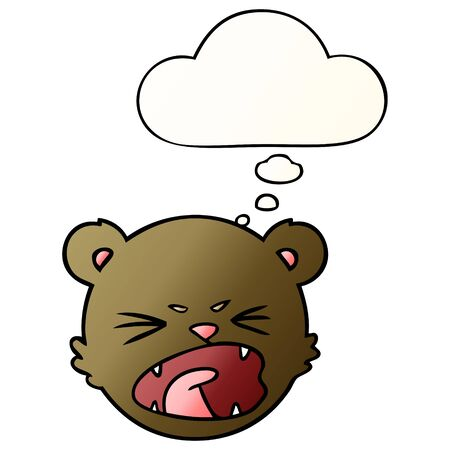 cute cartoon teddy bear face with thought bubble in smooth gradient style