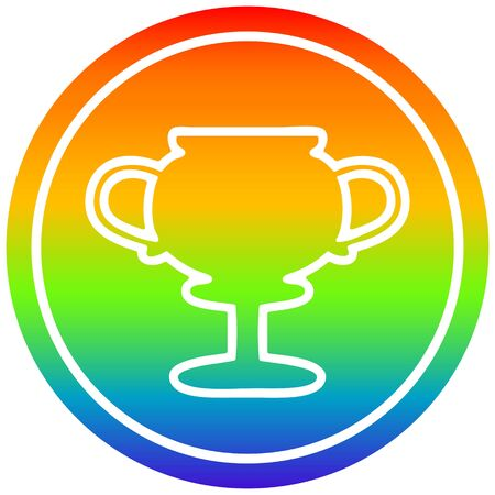 trophy cup circular icon with rainbow gradient finish Banque d'images - 130509411