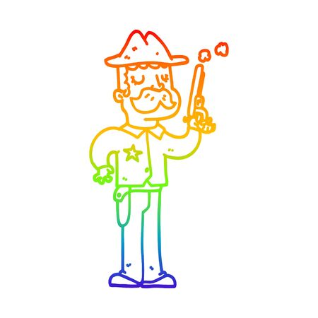 rainbow gradient line drawing of a cartoon sheriff