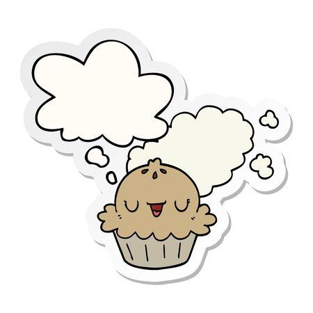 cute cartoon pie with thought bubble as a printed sticker Ilustração