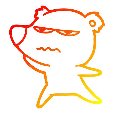 warm gradient line drawing of a angry bear cartoon