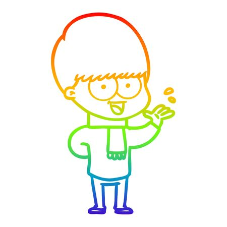 rainbow gradient line drawing of a happy cartoon boy waving