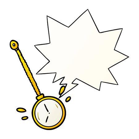 cartoon swinging gold hypnotist watch with speech bubble in smooth gradient style Foto de archivo - 130509693