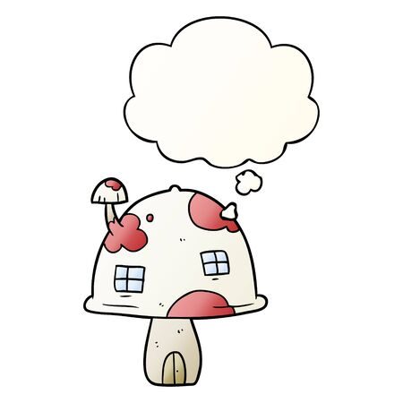 cartoon mushroom house with thought bubble in smooth gradient style