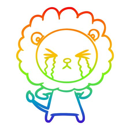 rainbow gradient line drawing of a cartoon crying lion