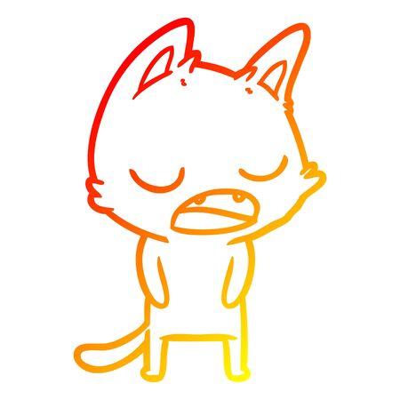 warm gradient line drawing of a talking cat cartoon 向量圖像