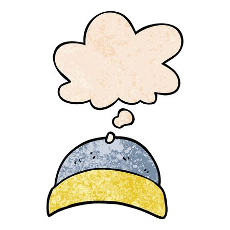 cartoon hat with thought bubble in grunge texture style