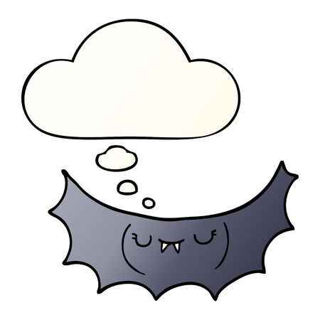 cartoon vampire bat with thought bubble in smooth gradient style Ilustração