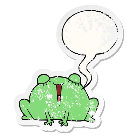 cute cartoon frog with speech bubble distressed distressed old sticker  イラスト・ベクター素材