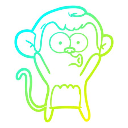 cold gradient line drawing of a cartoon surprised monkey 向量圖像
