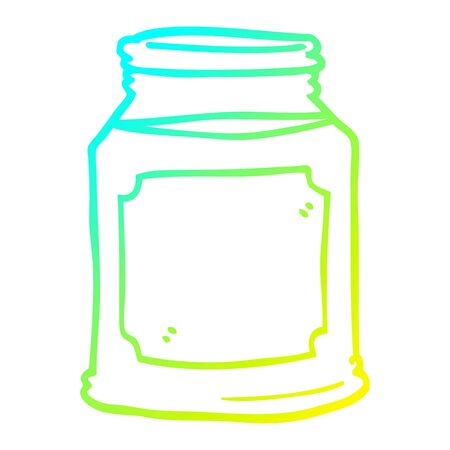 cold gradient line drawing of a cartoon candle in jar