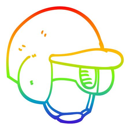 rainbow gradient line drawing of a cartoon baseball helmet