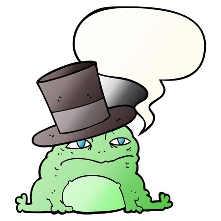 cartoon rich toad with speech bubble in smooth gradient style