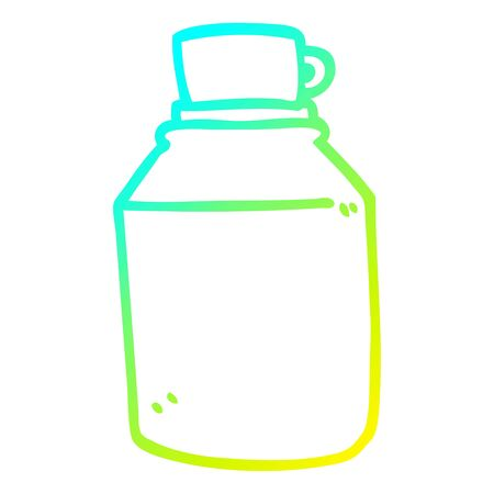 cold gradient line drawing of a cartoon hot drinks flask Illustration