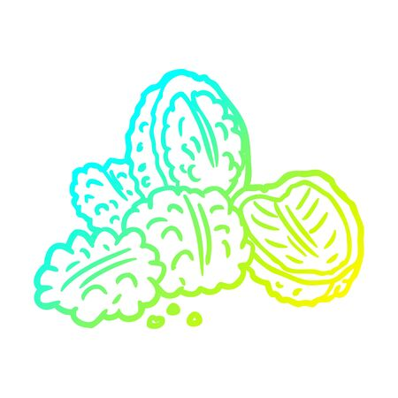 cold gradient line drawing of a walnuts
