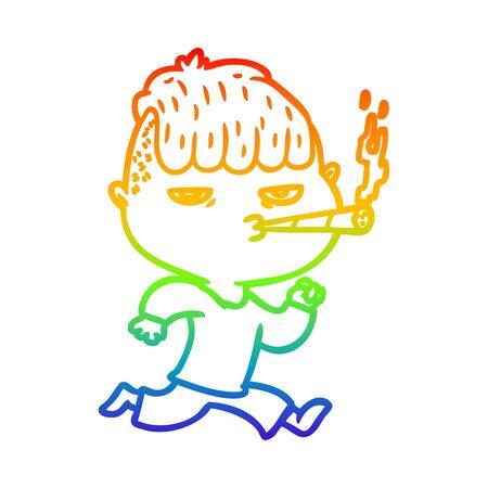 rainbow gradient line drawing of a cartoon man smoking whilst running