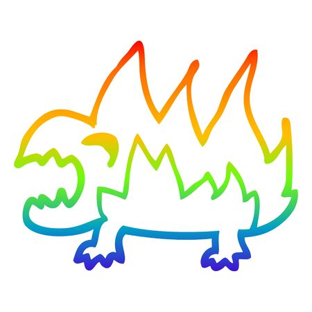 rainbow gradient line drawing of a cartoon fire demon