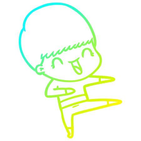 cold gradient line drawing of a happy cartoon boy
