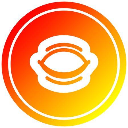closed eye circular icon with warm gradient finish