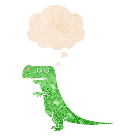 cartoon dinosaur with thought bubble in grunge distressed retro textured style
