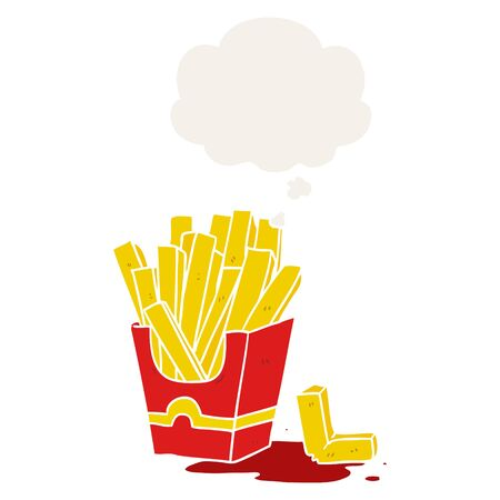 cartoon fries with thought bubble in retro style