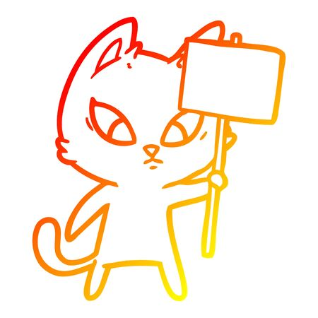 warm gradient line drawing of a confused cartoon cat with protest sign