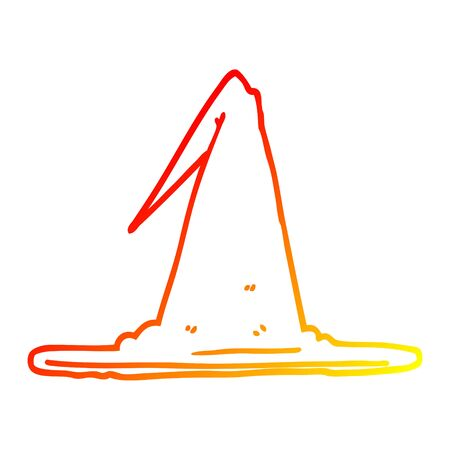 warm gradient line drawing of a cartoon witch hat