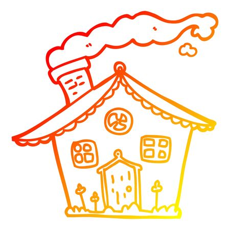 warm gradient line drawing of a cartoon house