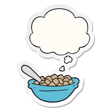cartoon cereal bowl with thought bubble as a printed sticker Vettoriali