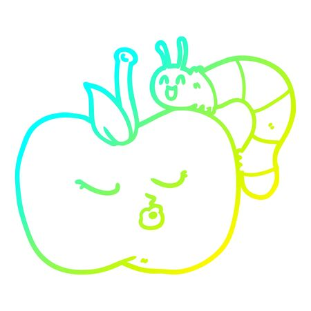 cold gradient line drawing of a cartoon pretty apple and bug