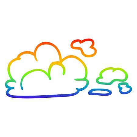 rainbow gradient line drawing of a cartoon storm cloud Illusztráció