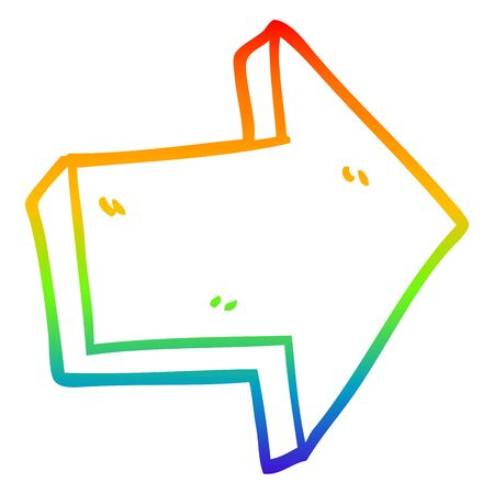 rainbow gradient line drawing of a cartoon red arrow Illusztráció