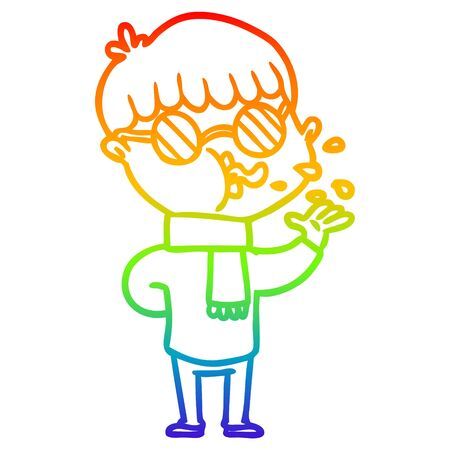 rainbow gradient line drawing of a cartoon boy wearing spectacles 向量圖像