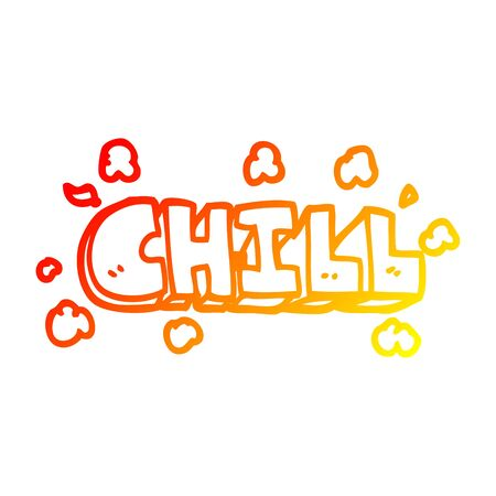 warm gradient line drawing of a cartoon chill sign