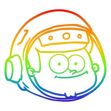 rainbow gradient line drawing of a cartoon astronaut face Illustration