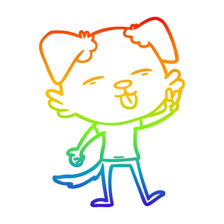 rainbow gradient line drawing of a cartoon dog sticking out tongue Standard-Bild - 130516757